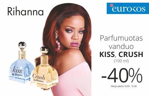 """RIHANNA """"CRUSH"""" ir """"KISS"""" kvepalams taikoma – 40% nuolaida"""