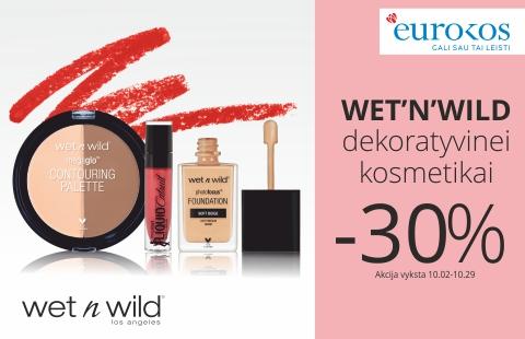 Wet'N'Wild dekoratyvinei kosmetikai -30%!