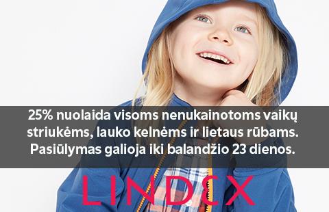 """Visose fizinėse """"Lindex"""" parduotuvėse 25% nuolaida visoms vaikų striukėms, lietaus rūbams."""