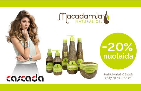 -20% nuolaida visai Macadamia Natural Oil plaukų priežiūros kosmetikai