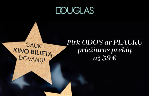 Apsipirkite DOUGLAS ir gaukite bilietą į kiną! Pasiūlymas tik su DOUGLAS lojalumo kortele!