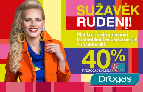 Plaukų ir dekoratyvinei kosmetikai bei parfumerijai su DROGAS kortele – iki 40%