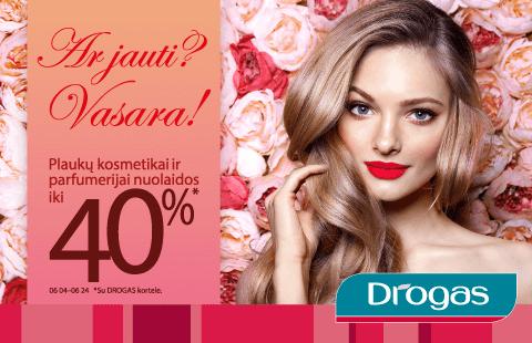 Plaukų kosmetikai ir parfumerijai su DROGAS nuolatinio kliento kortele nuolaidos iki 40%!