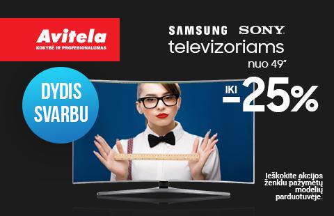 Nuolaidos Samsung/Sony televizoriams iki -25%
