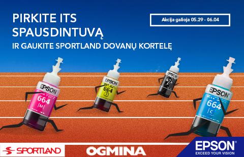 Ogmina DOVANOJA Sportland dovanų kuponą visiems, perkantiems Epson ITS spausdintuvą!