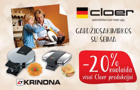 -20% nuolaida visai Cloer  produkcijai