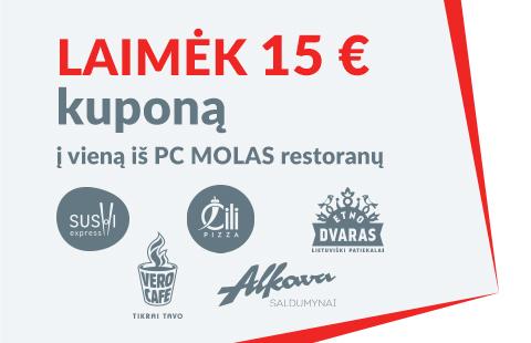 Laimėk 15 € kuponą į vieną iš PC MOLAS restoranų!