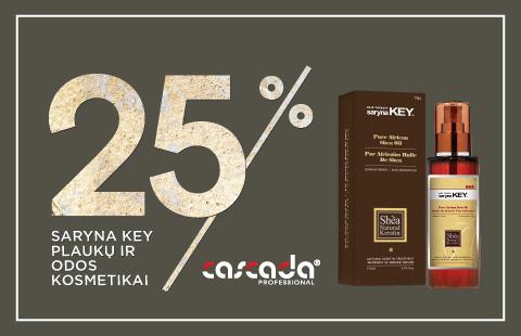 """""""Saryna Key"""" plaukų ir odos kosmetikai 25% nuolaida"""
