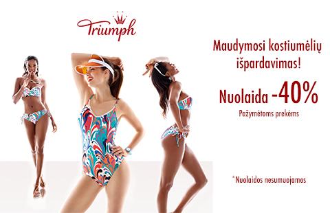 """""""Triumph"""" maudymosi kostiumėlių išpardavimas – pažymėtoms prekėms nuolaidos – 40%"""