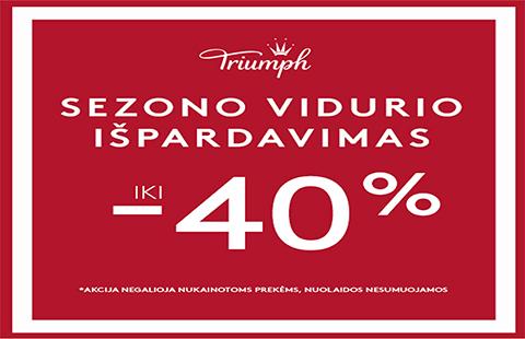 """""""Triumph"""""""" Sezono vidurio išpardavimas nuolaidos iki -40%"""