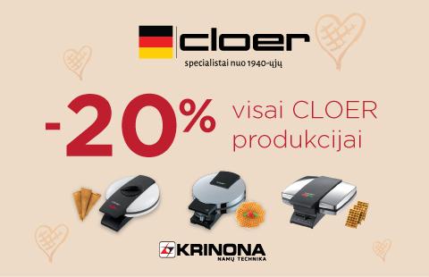 "Visoms ""Cloer"" prekėms -20% nuolaida"