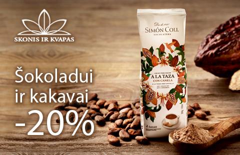 Šokoladui ir kakavai – 20% nuolaida